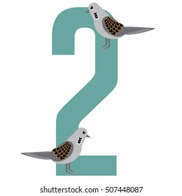 Two turtle doves Christmas illustration.