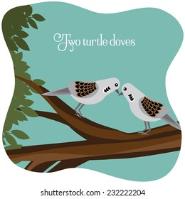 Two turtle doves on a branch EPS 10 vector illustration