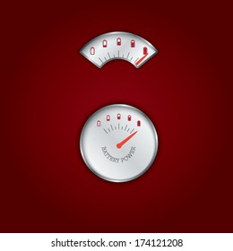 Two types of gauges or meters for measuring battery power. Eps10 vector illustration