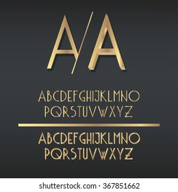 Two types of golden art deco font - simple gradient and 3d gold variants.