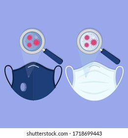 Two types of medical masks: surgical face mask and N95 respirator. Virus contaminating the masks and being enlarged by the magnifying glass.