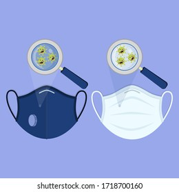 Two types of medical masks: surgical face mask and N95 respirator. Angry cartoon virus contaminating the masks and being enlarged by the magnifying glass.