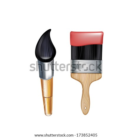 Two Types Paint Brushes Isolated On Stock Vector Royalty Free