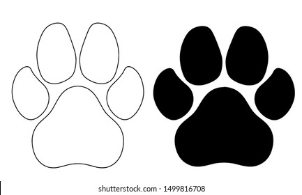 Two types of paw prints on a white background. Vector graphics.