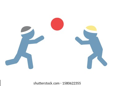 Two ultra - Orthodox Jewish children playing ball. Colorful symbolic vector icon