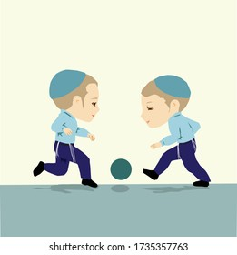 Two ultra Orthodox religious Jewish children with caps on their heads and tzitzit playing ball. Pastel flat vector drawing.