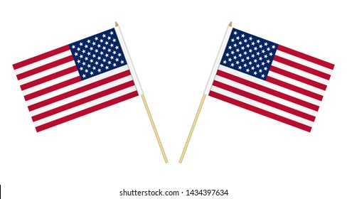 Two US flags isolated on white background, vector illustration. USA flag on pole.