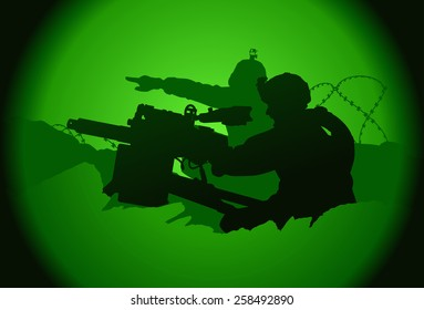 Two US soldiers. View from night vision.