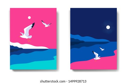 Two variants of backgrounds. Sea landscape with gulls, noon and midnight. Sea coast, sky, flaying seagulls. Vector illustration