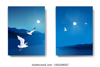 Two variants of backgrounds. Sea landscape with gulls. Sea coast, sky, flaying seagulls. Vector illustration