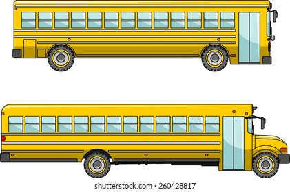 Two variants of a classic yellow school bus in flat style