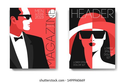 Two variants of fashion magazine cover designs. Male and female portraits. Man in tuxedo, bow tie and sunglasses, side view. Woman in hat and sunglasses, full face. Vector illustration