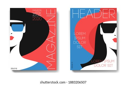Two variants of fashion magazine cover design. Female portraits, half face. Woman in big hat, evening dress and sunglasses. Isolated images, text, red and blue background. Vector illustration