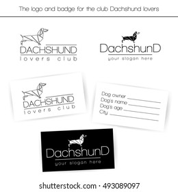 Two variants of the logo for the club dog lovers Dachshund breed. Cards for dog owners dachshund breed.