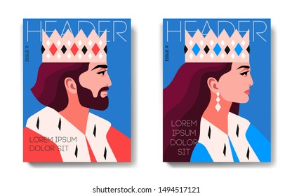 Two variants of magazine cover designs. Portraits of king and queen, side view. Male and female characters, wearing crowns and royal ermine mantles. Header, text, blue background. Vector illustration