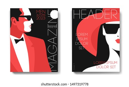 Two variants of magazine cover designs. Male and female portraits. Man in tuxedo, bow tie and sunglasses, side view. Woman in hat and sunglasses, half face. Vector illustration