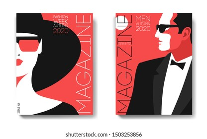 Two variants of magazine cover designs. Female and male portraits. Woman in hat and sunglasses, half face. Man in tuxedo, bow tie and sunglasses, side view. Vector illustration