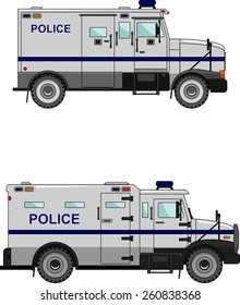 Two variants of the police car in a flat style