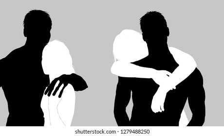 Two vector bw silhouettes of romantic couple