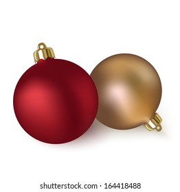 Two vector christmas balls isolated on white background