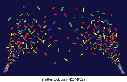 Two vector confetti poppers
