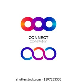 Two Vector Connect Symbols. Colorful Chain Business Creative Logo. Concept of Connect, Interact and Cooperation.