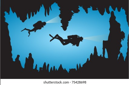 Two vector Diver Exploring Coral Cave
