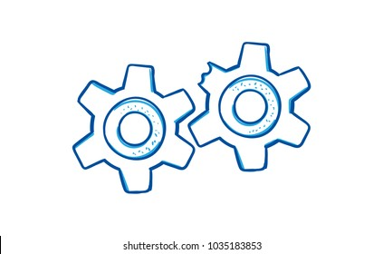 Two vector gears in sketch style illustration