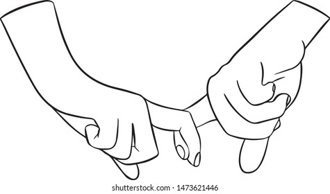 Two vector hand holding each other by the fingers.