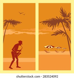 Two vector  illustrations with the image of the beach and a musician playing the saxophone