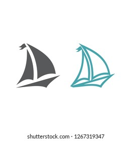 Two vector illustrations the ship with a sail. Set of vector symbols. Rest on the yacht under sails. Flat design Monohrome