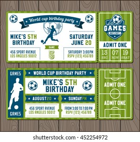 Two Vector illustrations for Soccer Themed Party invites.
