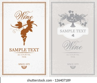 two vector labels for wine grapes, fruits and lilacs