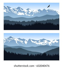 Two vector landscapes with silhouettes of forest and distant mountain ridges. Illustration of travel to beautiful places of untouched nature