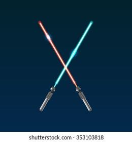 Two vector light swords from star wars. Modern weapon.