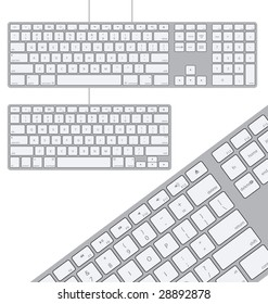 Two Vector Modern Aluminum Computer Keyboards