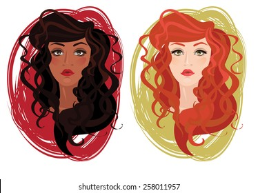 two vector portrait of beautiful different nations young girls with curly hair, vector illustration