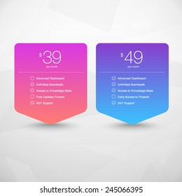 Two Vector Pricing Tables for Web, Presentations and Infographics templates. Vivid illustration on Geometric modern background