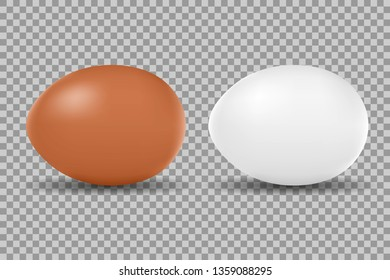 Two vector realistic chicken white and brown eggs. Isolated eggs for easter on transparent background.