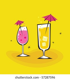 Two vector retro drinks isolated on orange background. Take hot summer mixed drinks! Vector illustration.