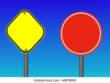 Two vector road signs yellow and red