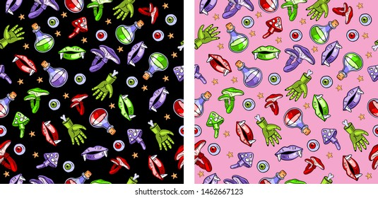 Two vector seamless Halloween patterns on black and pink backgrounds. Contains following elements: potion, mushrooms, lips, teeth, zombie's hands. Use for holliday cards, invitations, wrapping paper