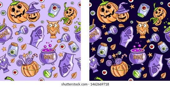 Two vector seamless Halloween patterns on black and violet backgrounds. Contains following elements: potion, cauldron, grave, owl, pumpkin, candies. Use for holliday cards, invitations, wrapping