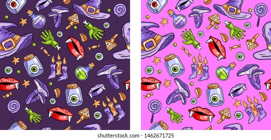 Two vector seamless Halloween patterns on black and violet backgrounds. Contains following elements: potion, lips, wizard's hat, mushrooms, candles. Use for holliday cards, invitations, wrapping
