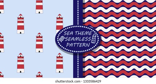 Two vector seamless pattern. Sea theme. Blue background. Red and white colors. Lighthouse and waves striped pattern. Set great for fabric, textile, wallpaper, children room decor, wrapping, packaging.