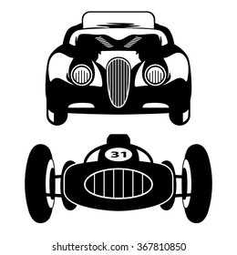 Two vector silhouettes of retro cars in black, front view.