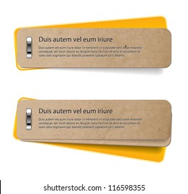 Two vector stapled old paper tags / labels / banners / stickers with yellow covers