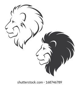 Two vector symbols with lion head in profile