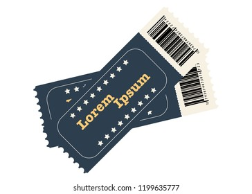 Two vector tickets isolated on white background. Realistic front view illustration