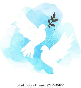 Two vector white doves on blue watercolor background, postcard for international peace day